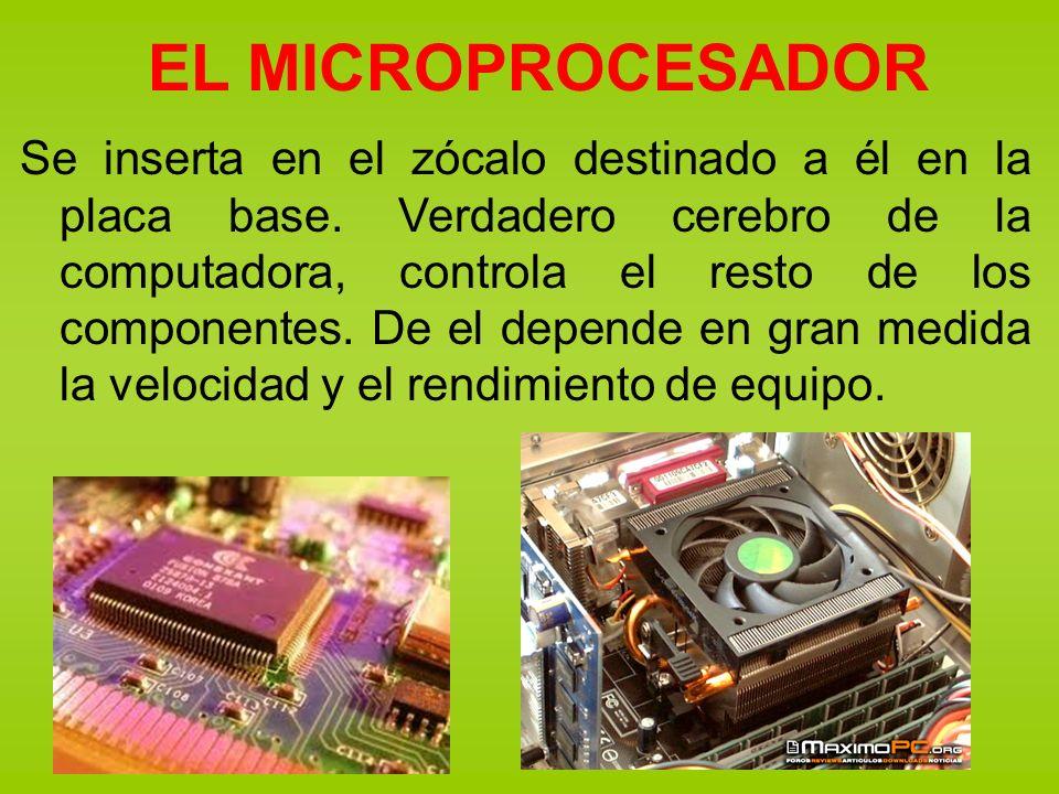 EL MICROPROCESADOR Se inserta en el zócalo destinado a él en la placa base. Verdadero cerebro de la computadora, controla el resto de los componentes.