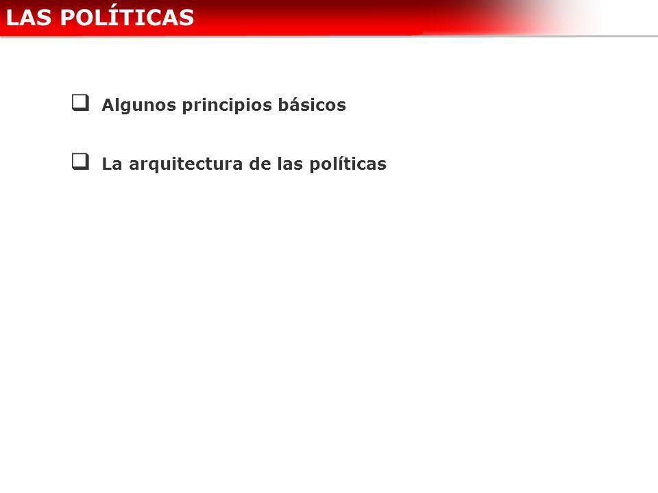 LAS POLÍTICAS Algunos principios básicos La arquitectura de las políticas