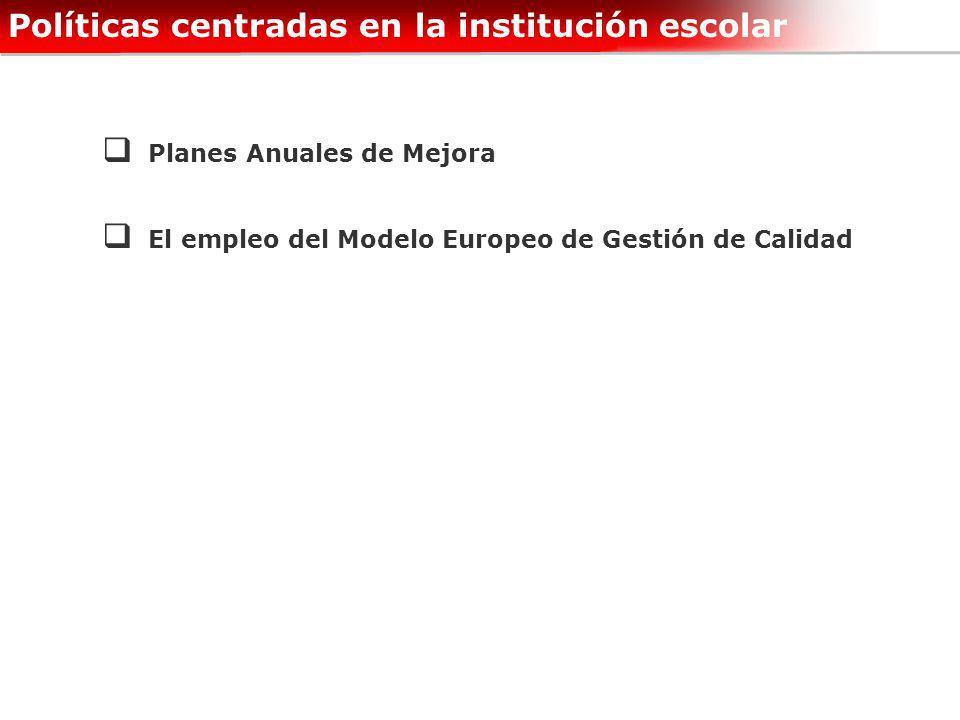 Políticas centradas en la institución escolar Planes Anuales de Mejora El empleo del Modelo Europeo de Gestión de Calidad