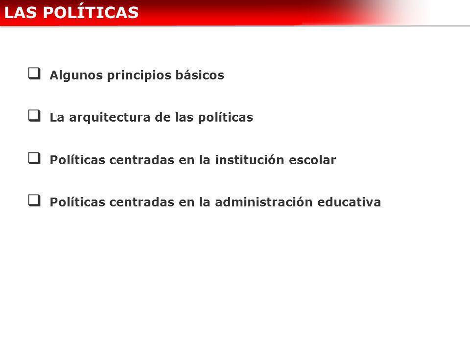 LAS POLÍTICAS Algunos principios básicos La arquitectura de las políticas Políticas centradas en la institución escolar Políticas centradas en la admi