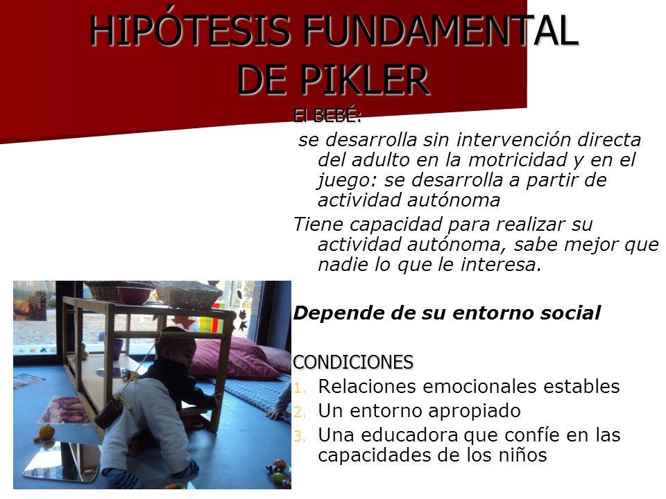 HIPÓTESIS FUNDAMENTAL DE PIKLER El BEBÉ: se desarrolla sin intervención directa del adulto en la motricidad y en el juego: se desarrolla a partir de a