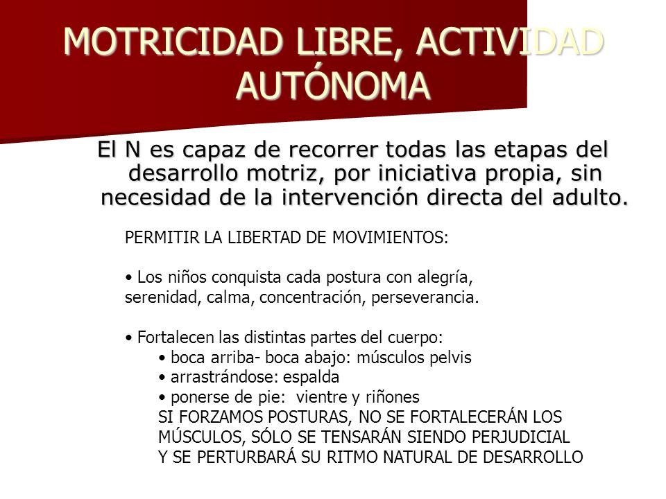 MOTRICIDAD LIBRE, ACTIVIDAD AUTÓNOMA El N es capaz de recorrer todas las etapas del desarrollo motriz, por iniciativa propia, sin necesidad de la inte