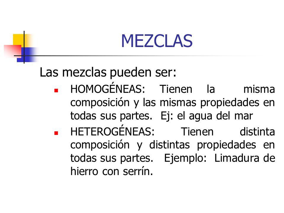MEZCLAS Las mezclas pueden ser: HOMOGÉNEAS: Tienen la misma composición y las mismas propiedades en todas sus partes. Ej: el agua del mar HETEROGÉNEAS