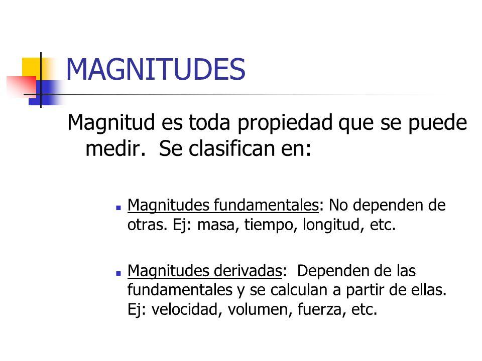 MAGNITUDES Magnitud es toda propiedad que se puede medir. Se clasifican en: Magnitudes fundamentales: No dependen de otras. Ej: masa, tiempo, longitud