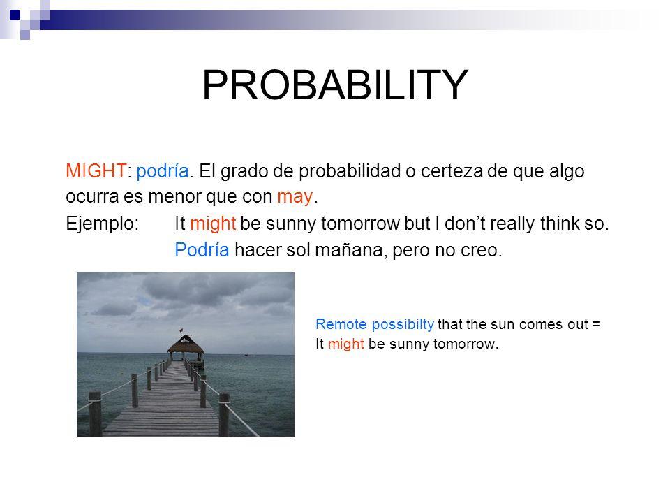 PROBABILITY MIGHT: podría. El grado de probabilidad o certeza de que algo ocurra es menor que con may. Ejemplo: It might be sunny tomorrow but I dont