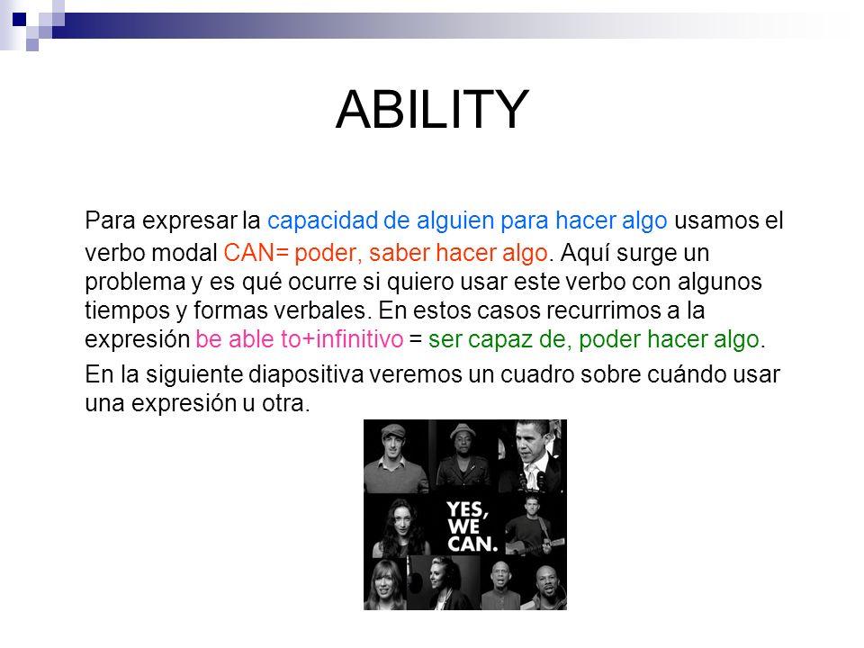 ABILITY Para expresar la capacidad de alguien para hacer algo usamos el verbo modal CAN= poder, saber hacer algo.