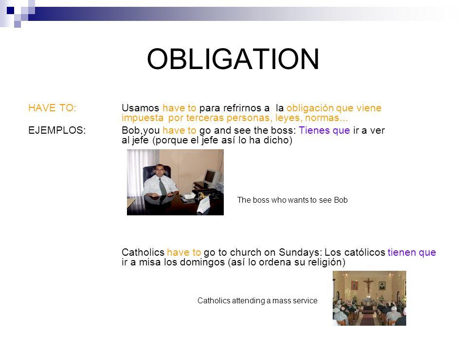OBLIGATION Por último es importante comentar qué ocurre cuando queremos expresar una obligación en pasado o en futuro.