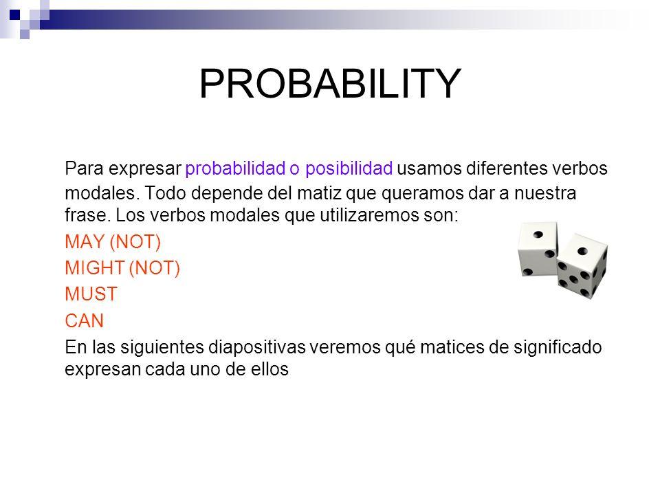PROBABILITY Para expresar probabilidad o posibilidad usamos diferentes verbos modales. Todo depende del matiz que queramos dar a nuestra frase. Los ve