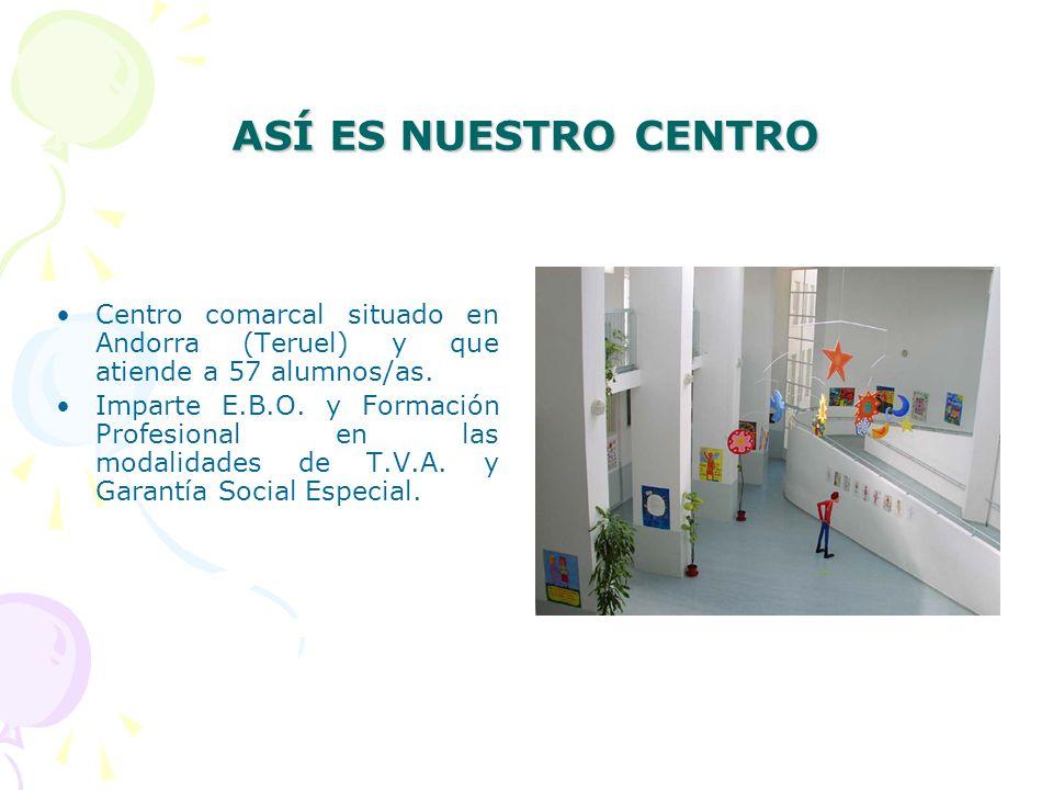 ASÍ ES NUESTRO CENTRO Centro comarcal situado en Andorra (Teruel) y que atiende a 57 alumnos/as.