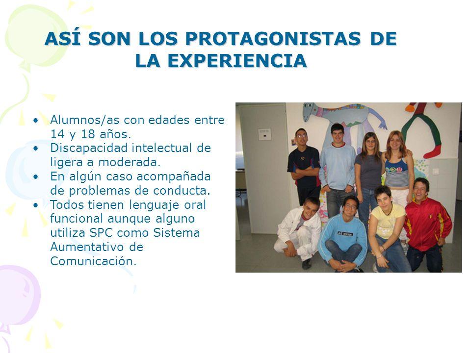 ASÍ SON LOS PROTAGONISTAS DE LA EXPERIENCIA Alumnos/as con edades entre 14 y 18 años.