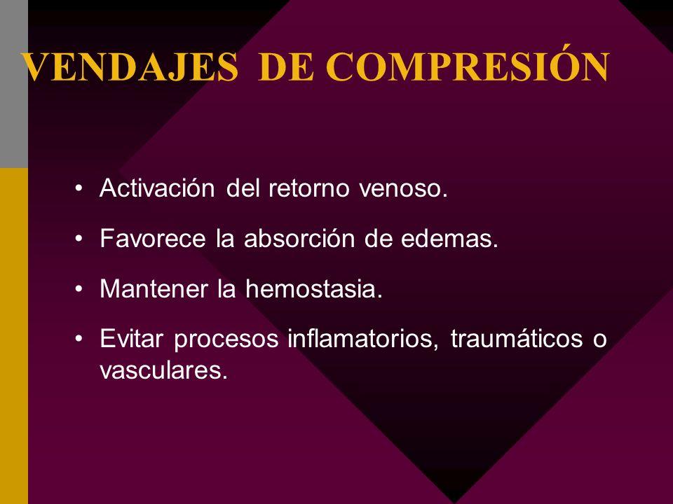 VENDAJES DE COMPRESIÓN Activación del retorno venoso. Favorece la absorción de edemas. Mantener la hemostasia. Evitar procesos inflamatorios, traumáti