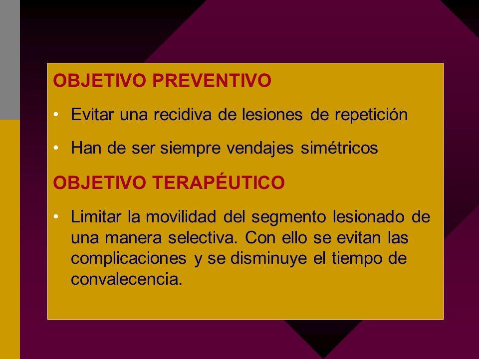 OBJETIVO PREVENTIVO Evitar una recidiva de lesiones de repetición Han de ser siempre vendajes simétricos OBJETIVO TERAPÉUTICO Limitar la movilidad del