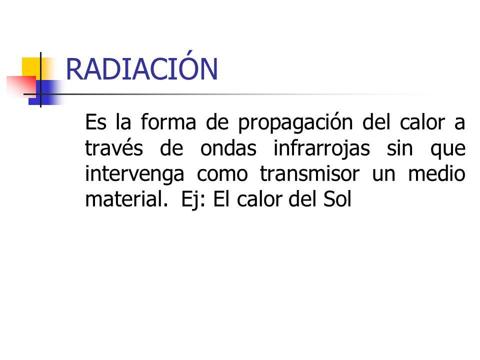 RADIACIÓN Es la forma de propagación del calor a través de ondas infrarrojas sin que intervenga como transmisor un medio material. Ej: El calor del So