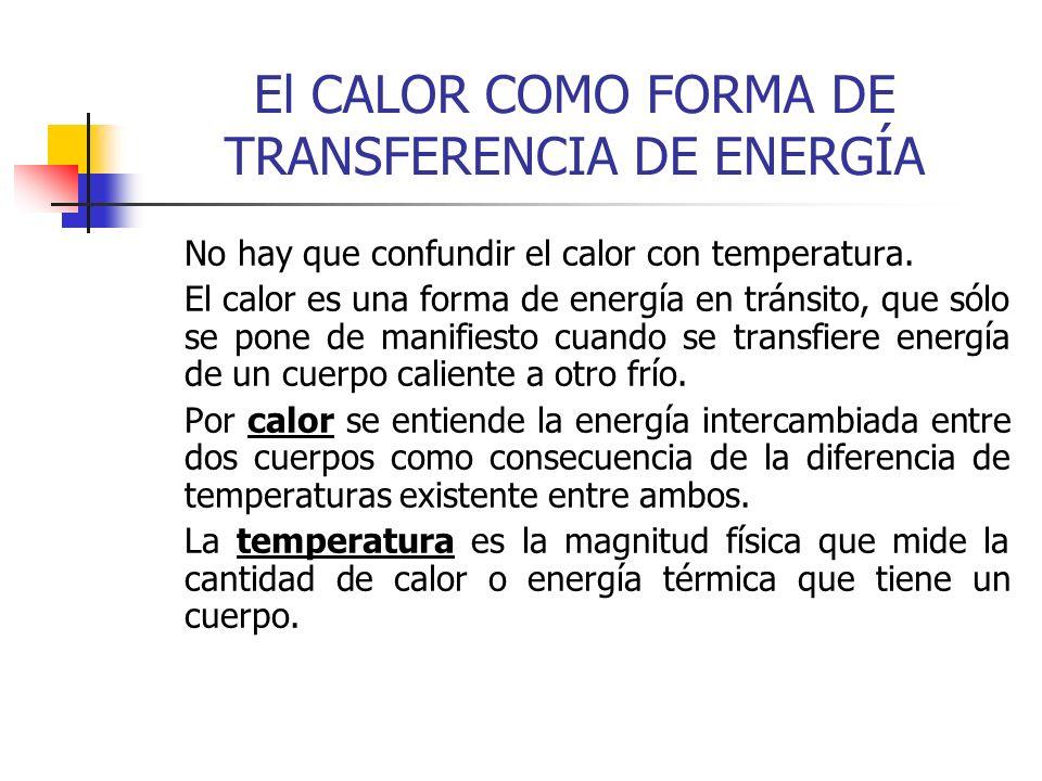 El CALOR COMO FORMA DE TRANSFERENCIA DE ENERGÍA No hay que confundir el calor con temperatura. El calor es una forma de energía en tránsito, que sólo