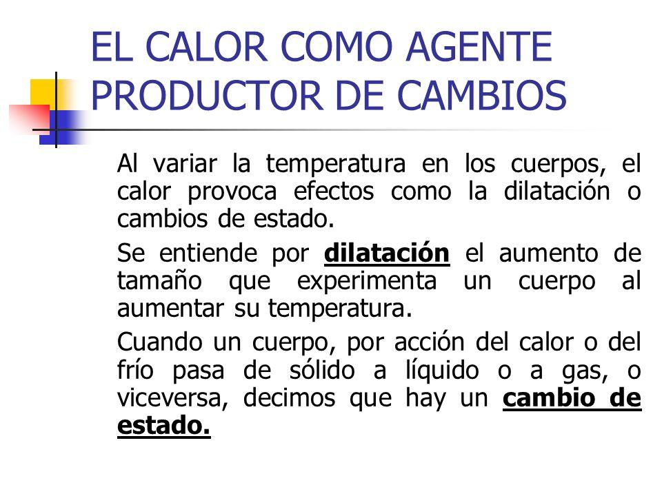 EL CALOR COMO AGENTE PRODUCTOR DE CAMBIOS Al variar la temperatura en los cuerpos, el calor provoca efectos como la dilatación o cambios de estado. Se