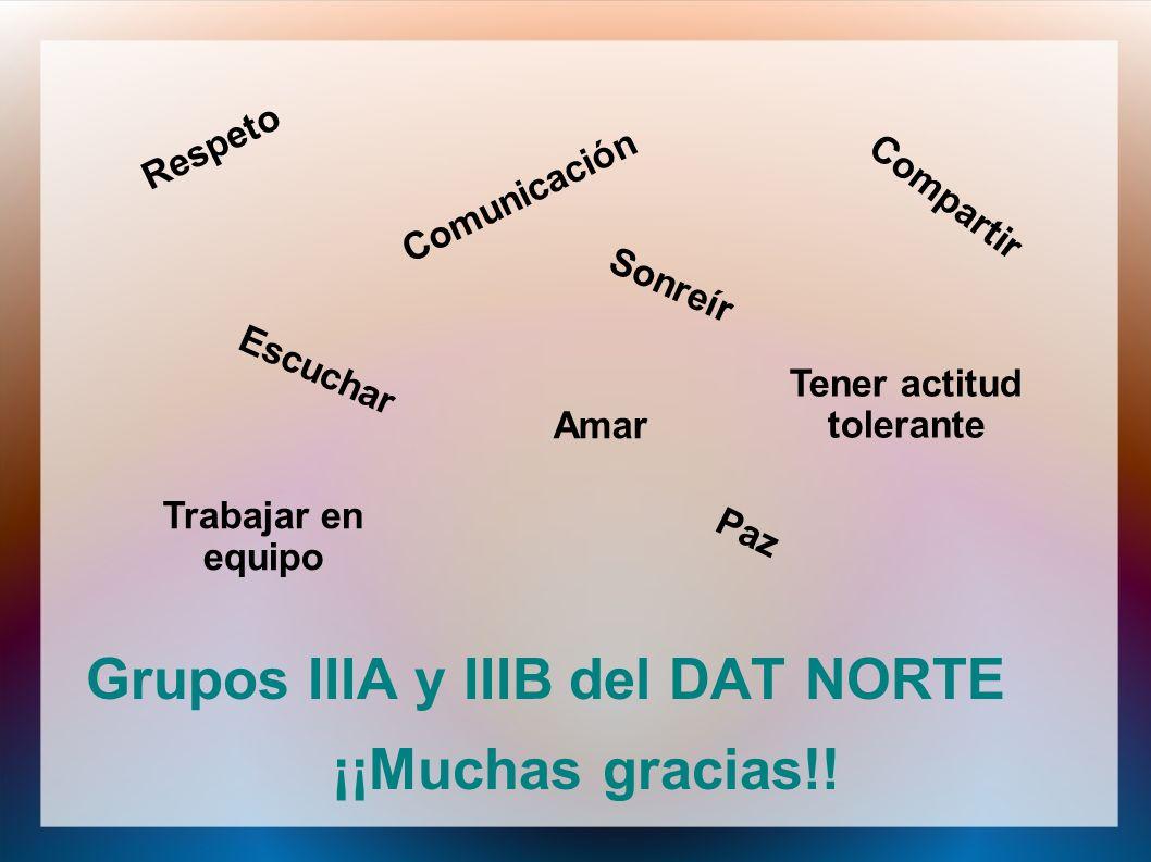 Grupos IIIA y IIIB del DAT NORTE ¡¡Muchas gracias!! Respeto Comunicación Tener actitud tolerante Escuchar Amar Compartir Sonreír Trabajar en equipo Pa