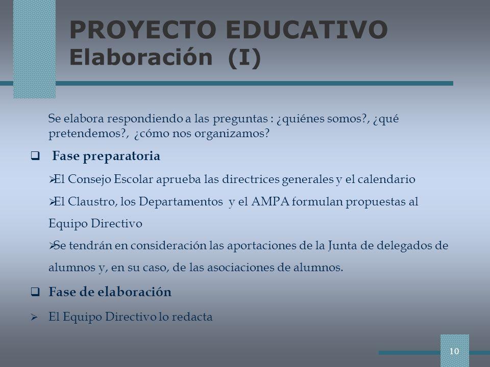 PROYECTO EDUCATIVO Elaboración (I) Se elabora respondiendo a las preguntas : ¿quiénes somos?, ¿qué pretendemos?, ¿cómo nos organizamos.