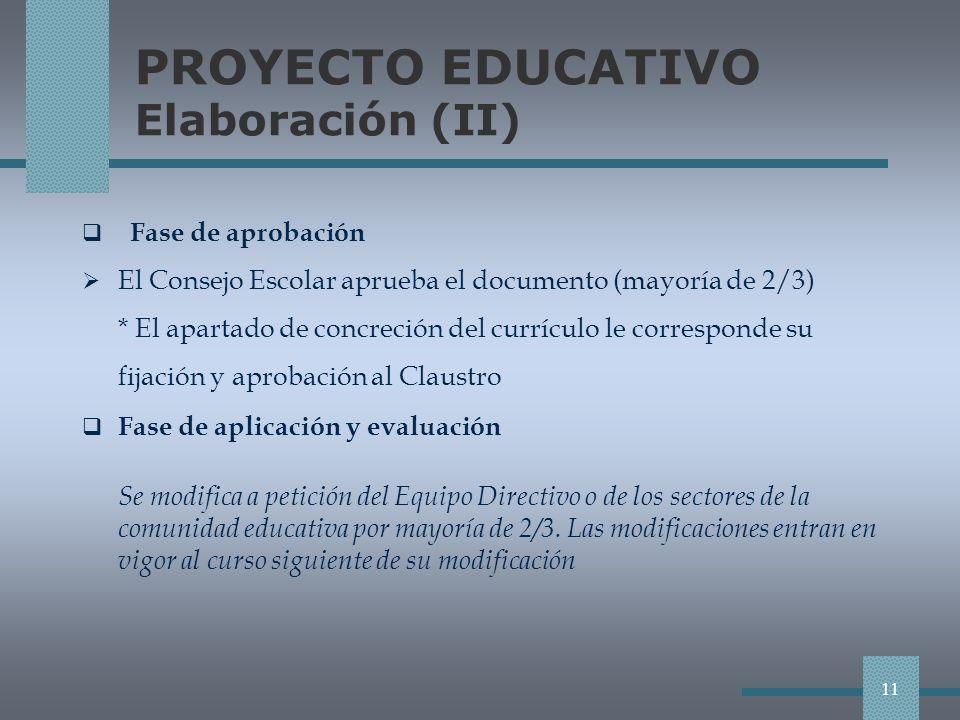 PROYECTO EDUCATIVO Elaboración (II) Fase de aprobación El Consejo Escolar aprueba el documento (mayoría de 2/3) * El apartado de concreción del currículo le corresponde su fijación y aprobación al Claustro Fase de aplicación y evaluación Se modifica a petición del Equipo Directivo o de los sectores de la comunidad educativa por mayoría de 2/3.