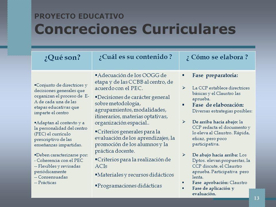 PROYECTO EDUCATIVO Concreciones Curriculares ¿Qué son.