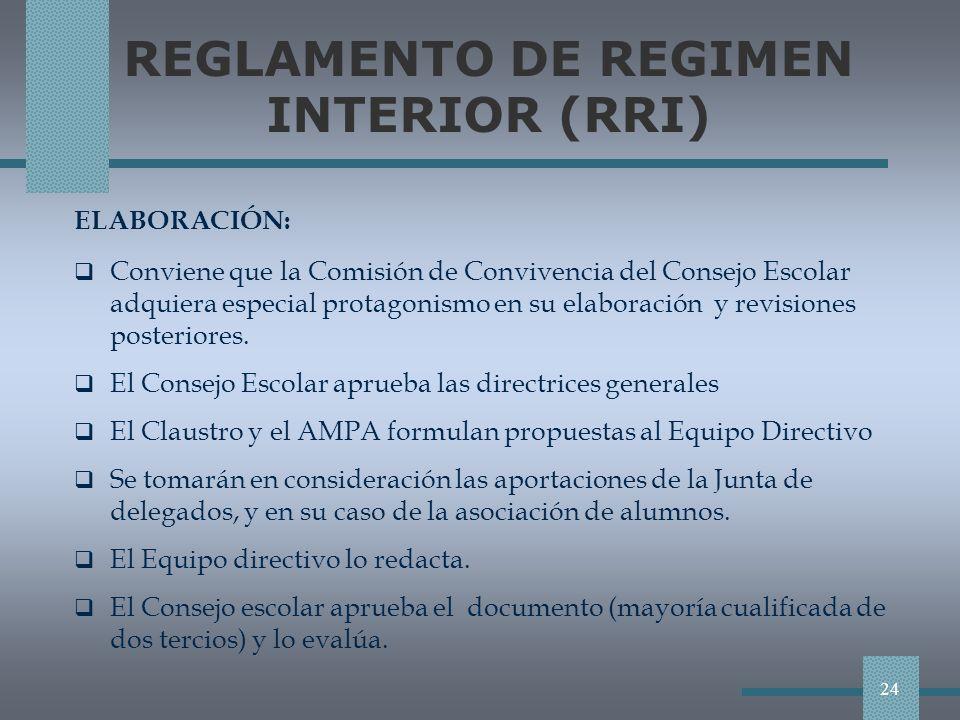 REGLAMENTO DE REGIMEN INTERIOR (RRI) ELABORACIÓN: Conviene que la Comisión de Convivencia del Consejo Escolar adquiera especial protagonismo en su elaboración y revisiones posteriores.