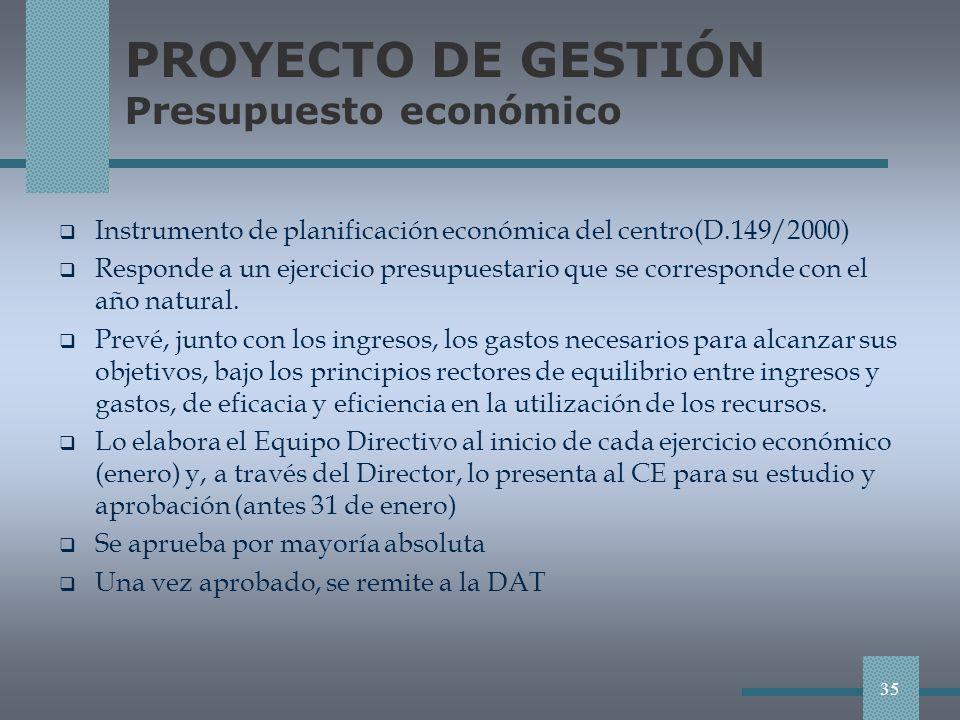 PROYECTO DE GESTIÓN Presupuesto económico Instrumento de planificación económica del centro(D.149/2000) Responde a un ejercicio presupuestario que se corresponde con el año natural.