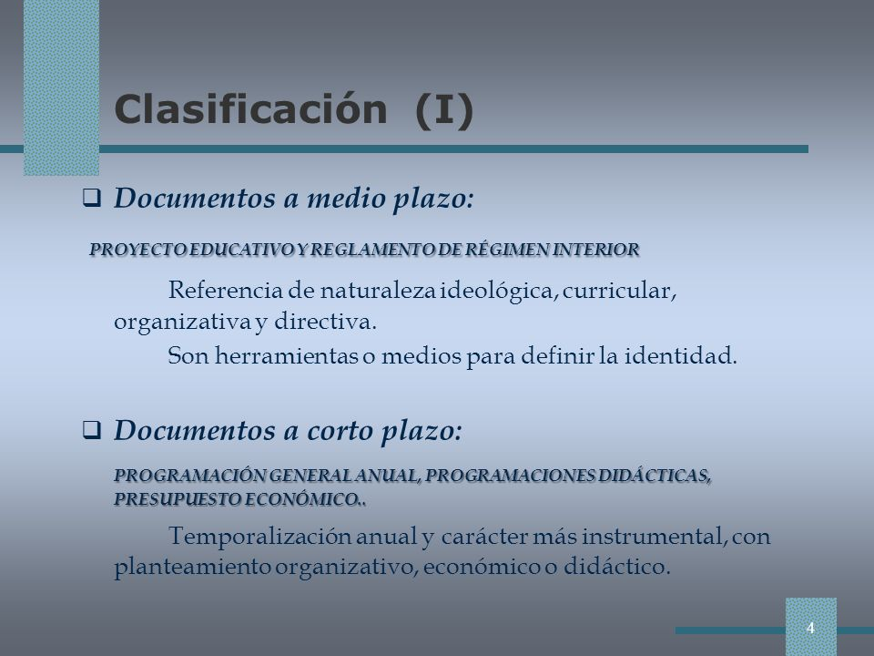 Clasificación (II) Ámbito Ámbito Primer nivel de programación Segundo nivel de programación Segundo nivel de programación Autonomía pedagógica PROYECTO EDUCATIVO DE CENTRO (PEC) Concreción de los currículos de las enseñanzas que se imparten.