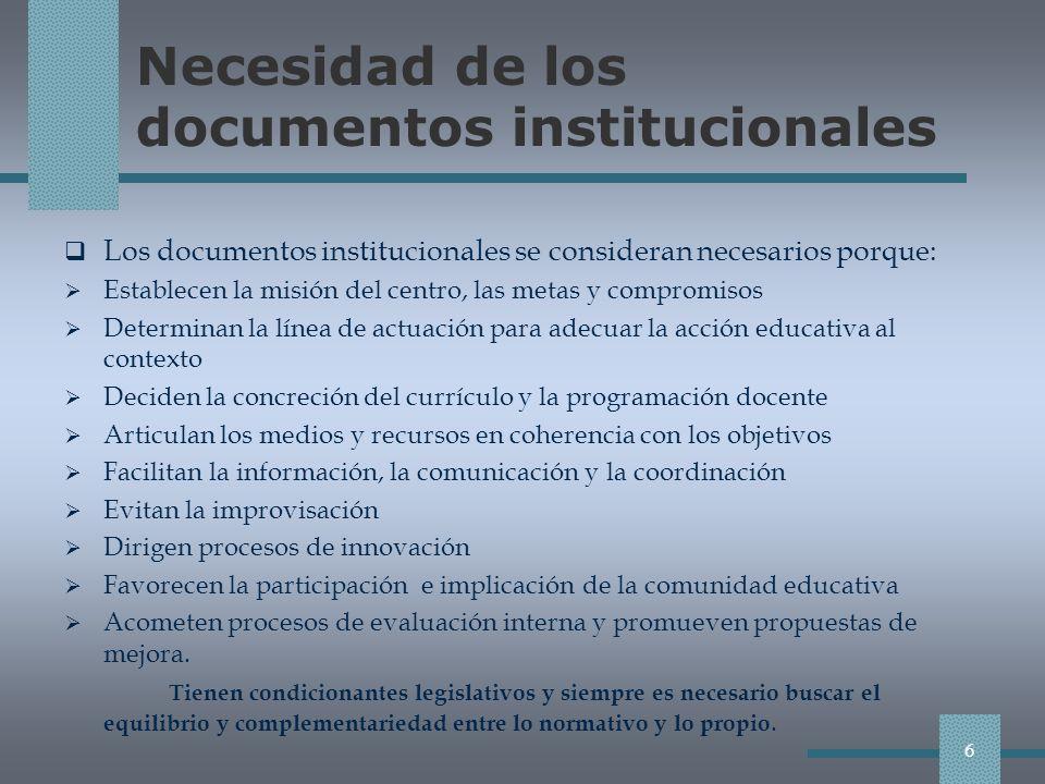 Necesidad de los documentos institucionales Los documentos institucionales se consideran necesarios porque: Establecen la misión del centro, las metas y compromisos Determinan la línea de actuación para adecuar la acción educativa al contexto Deciden la concreción del currículo y la programación docente Articulan los medios y recursos en coherencia con los objetivos Facilitan la información, la comunicación y la coordinación Evitan la improvisación Dirigen procesos de innovación Favorecen la participación e implicación de la comunidad educativa Acometen procesos de evaluación interna y promueven propuestas de mejora.