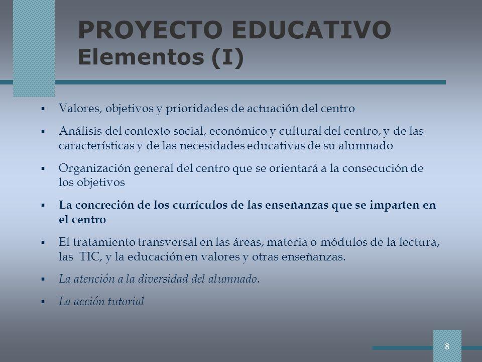 PROYECTO EDUCATIVO Elementos (I) Valores, objetivos y prioridades de actuación del centro Análisis del contexto social, económico y cultural del centro, y de las características y de las necesidades educativas de su alumnado Organización general del centro que se orientará a la consecución de los objetivos La concreción de los currículos de las enseñanzas que se imparten en el centro El tratamiento transversal en las áreas, materia o módulos de la lectura, las TIC, y la educación en valores y otras enseñanzas.