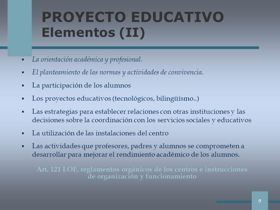 PROYECTO EDUCATIVO Elementos (II) La orientación académica y profesional.