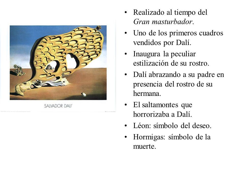 Realizado al tiempo del Gran masturbador. Uno de los primeros cuadros vendidos por Dalí. Inaugura la peculiar estilización de su rostro. Dalí abrazand
