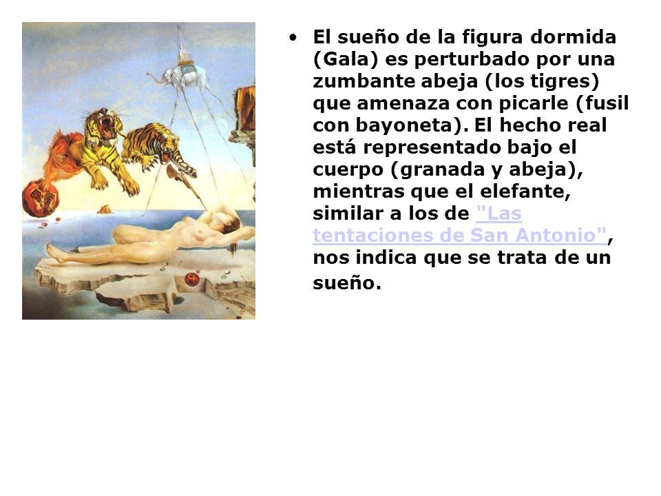 El sueño de la figura dormida (Gala) es perturbado por una zumbante abeja (los tigres) que amenaza con picarle (fusil con bayoneta). El hecho real est