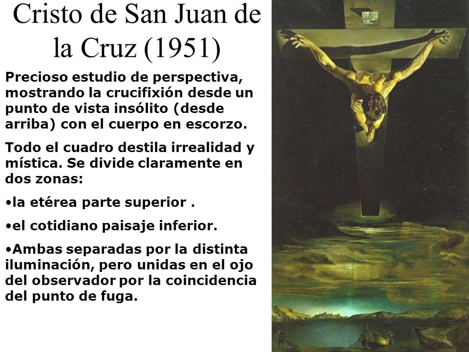 Cristo de San Juan de la Cruz (1951) Precioso estudio de perspectiva, mostrando la crucifixión desde un punto de vista insólito (desde arriba) con el