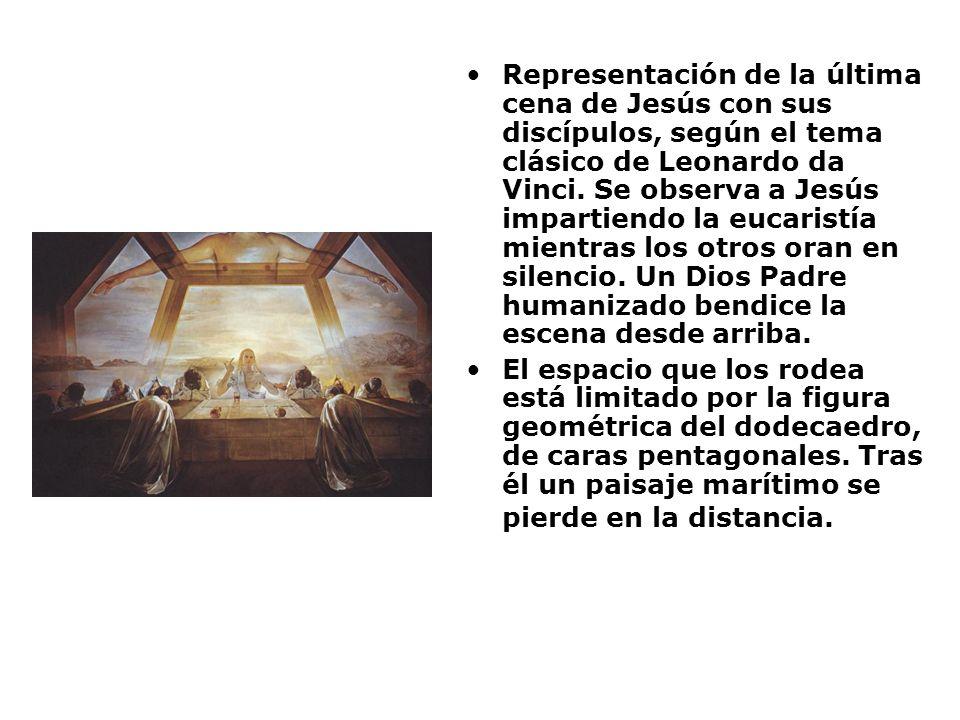 Representación de la última cena de Jesús con sus discípulos, según el tema clásico de Leonardo da Vinci. Se observa a Jesús impartiendo la eucaristía