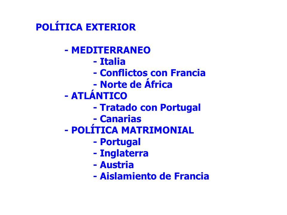POLÍTICA EXTERIOR - MEDITERRANEO - Italia - Conflictos con Francia - Norte de África - ATLÁNTICO - Tratado con Portugal - Canarias - POLÍTICA MATRIMON