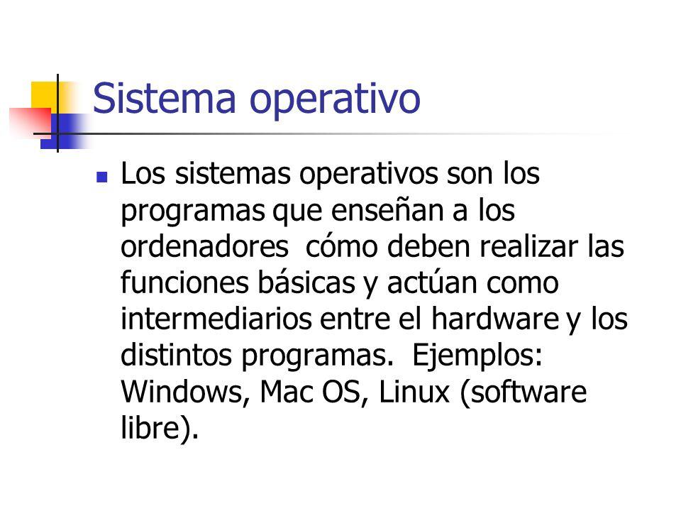 Sistema operativo Los sistemas operativos son los programas que enseñan a los ordenadores cómo deben realizar las funciones básicas y actúan como inte