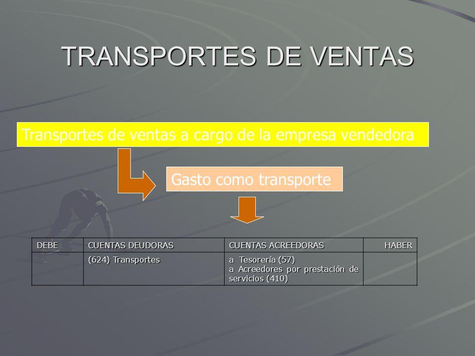 TRANSPORTES DE VENTAS Transportes de ventas a cargo de la empresa vendedora Gasto como transporte DEBE CUENTAS DEUDORAS CUENTAS ACREEDORAS HABER (624)