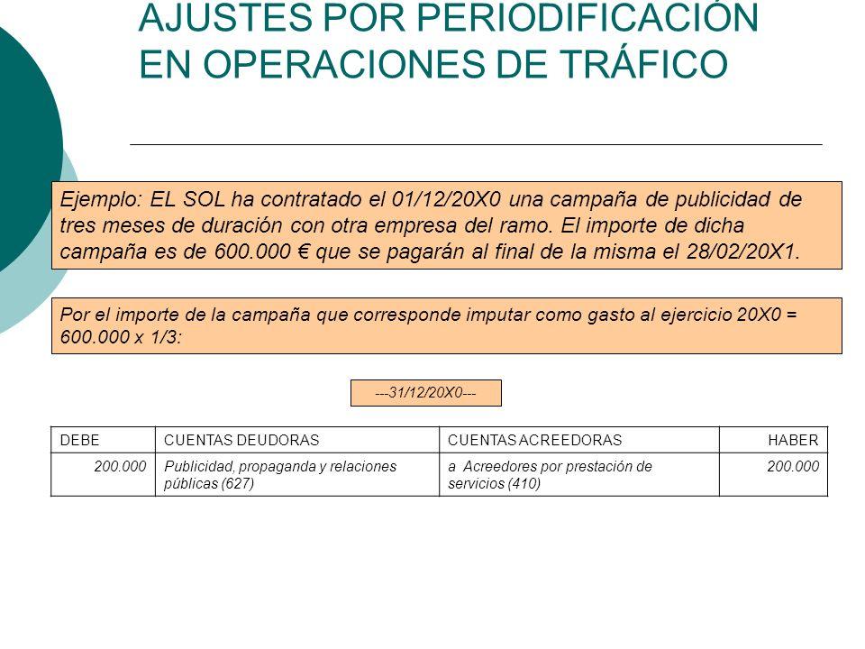 AJUSTES POR PERIODIFICACIÓN EN OPERACIONES DE TRÁFICO Ejemplo: EL SOL ha contratado el 01/12/20X0 una campaña de publicidad de tres meses de duración