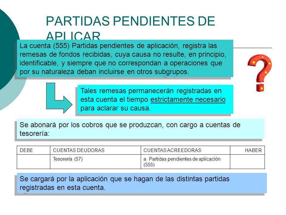 PARTIDAS PENDIENTES DE APLICAR La cuenta (555) Partidas pendientes de aplicación, registra las remesas de fondos recibidas, cuya causa no resulte, en