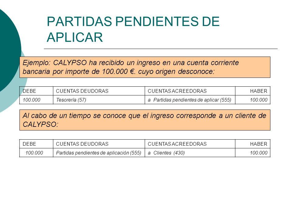 PARTIDAS PENDIENTES DE APLICAR Ejemplo: CALYPSO ha recibido un ingreso en una cuenta corriente bancaria por importe de 100.000. cuyo origen desconoce: