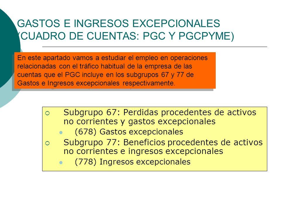GASTOS E INGRESOS EXCEPCIONALES (CUADRO DE CUENTAS: PGC Y PGCPYME) Subgrupo 67: Perdidas procedentes de activos no corrientes y gastos excepcionales (
