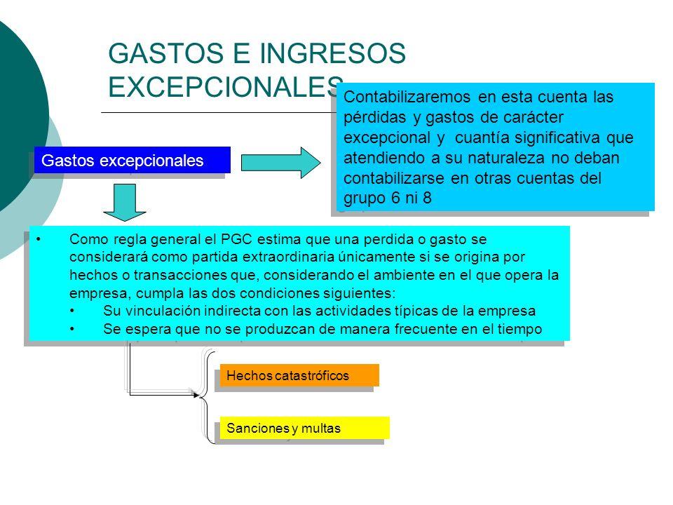 GASTOS E INGRESOS EXCEPCIONALES Gastos excepcionales Contabilizaremos en esta cuenta las pérdidas y gastos de carácter excepcional y cuantía significa