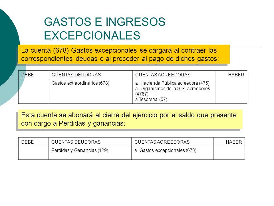 GASTOS E INGRESOS EXCEPCIONALES La cuenta (678) Gastos excepcionales se cargará al contraer las correspondientes deudas o al proceder al pago de dicho