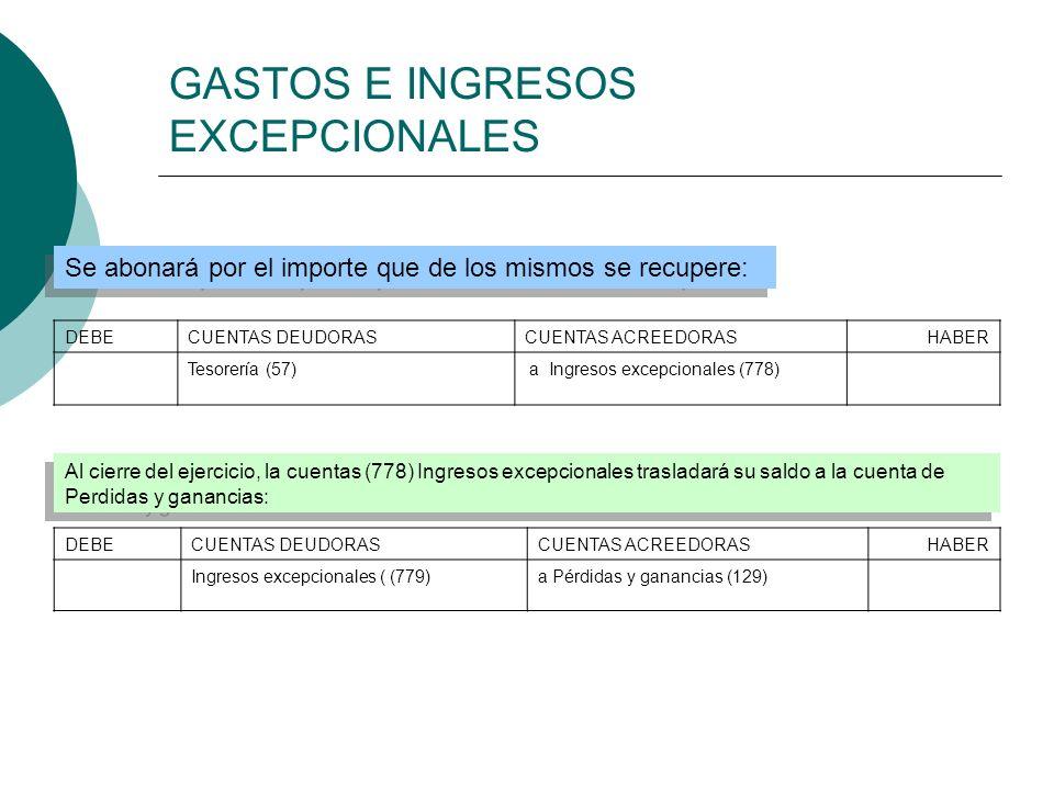 GASTOS E INGRESOS EXCEPCIONALES Al cierre del ejercicio, la cuentas (778) Ingresos excepcionales trasladará su saldo a la cuenta de Perdidas y gananci