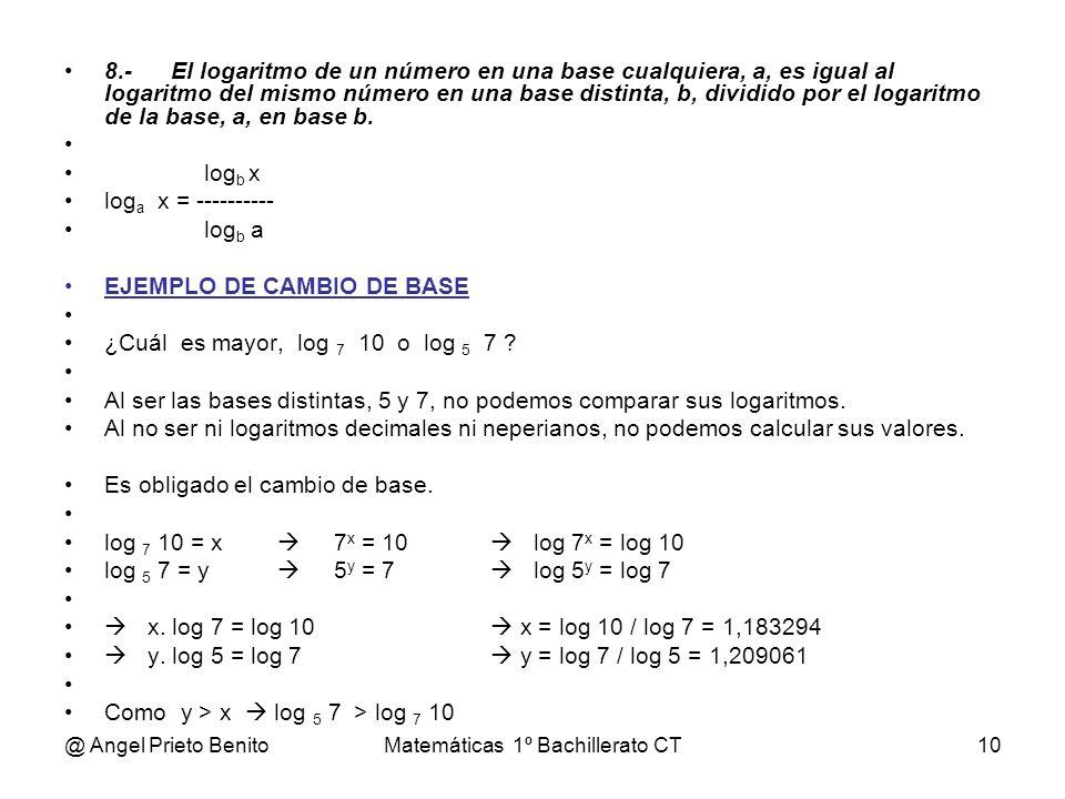 @ Angel Prieto BenitoMatemáticas 1º Bachillerato CT10 8.-El logaritmo de un número en una base cualquiera, a, es igual al logaritmo del mismo número e