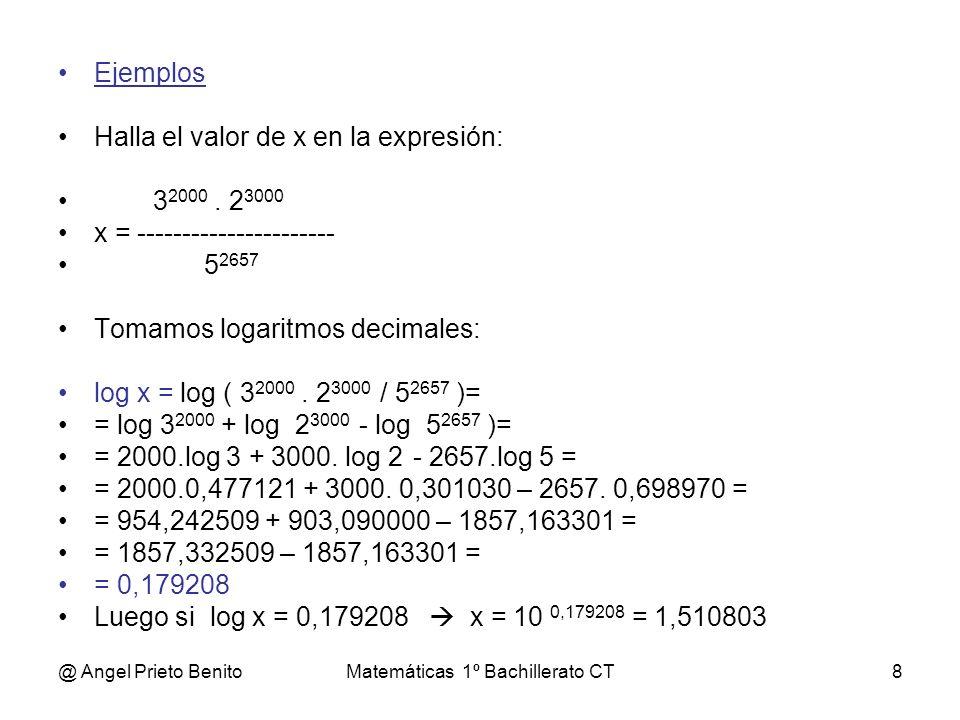 @ Angel Prieto BenitoMatemáticas 1º Bachillerato CT9 7.-El logaritmo de una raíz es igual al logaritmo del radicando, partido por el índice de la raíz.