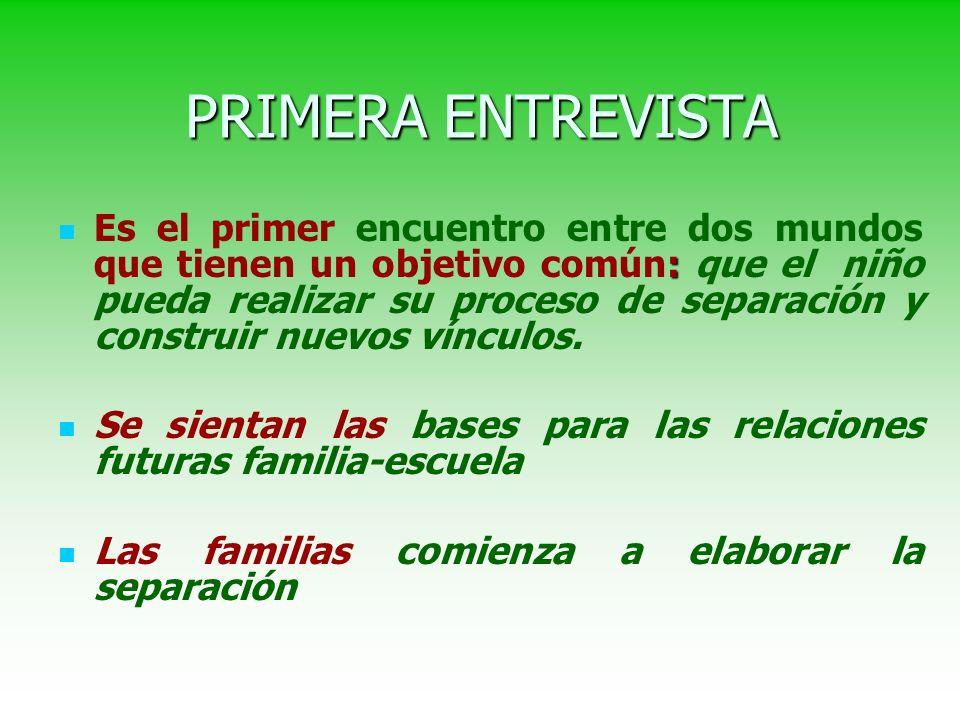 PRIMERA ENTREVISTA : Es el primer encuentro entre dos mundos que tienen un objetivo común: que el niño pueda realizar su proceso de separación y construir nuevos vínculos.