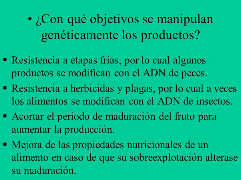 ¿Con qué objetivos se manipulan genéticamente los productos? Resistencia a etapas frías, por lo cual algunos productos se modifican con el ADN de pece