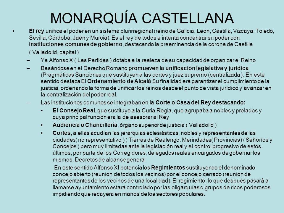 MONARQUÍA CASTELLANA El rey unifica el poder en un sistema plurirregional (reino de Galicia, León, Castilla, Vizcaya, Toledo, Sevilla, Córdoba, Jaén y
