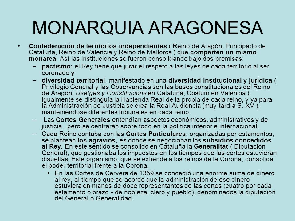 MONARQUIA ARAGONESA Confederación de territorios independientes ( Reino de Aragón, Principado de Cataluña, Reino de Valencia y Reino de Mallorca ) que