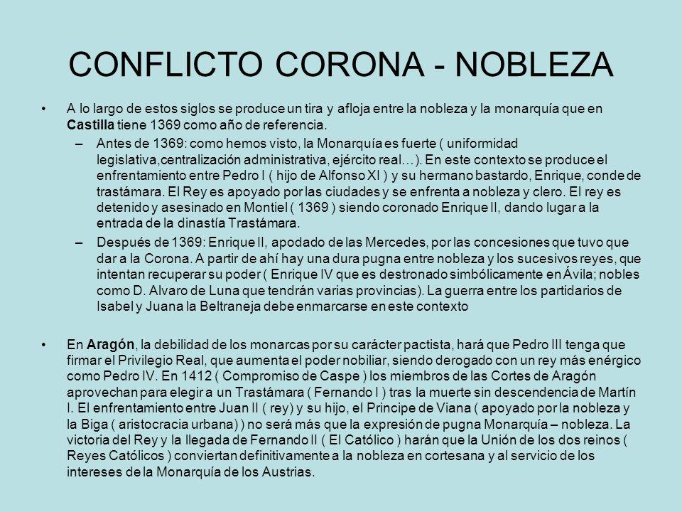 CONFLICTO CORONA - NOBLEZA A lo largo de estos siglos se produce un tira y afloja entre la nobleza y la monarquía que en Castilla tiene 1369 como año